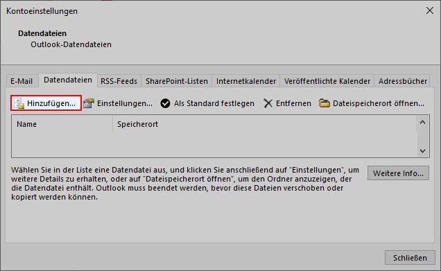 Outlook E-Mails in lokaler Outlook-Datendatei sichern 2