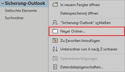 Outlook E-Mails in lokaler Outlook-Datendatei sichern 4