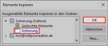 Outlook E-Mails in lokaler Outlook-Datendatei sichern 6
